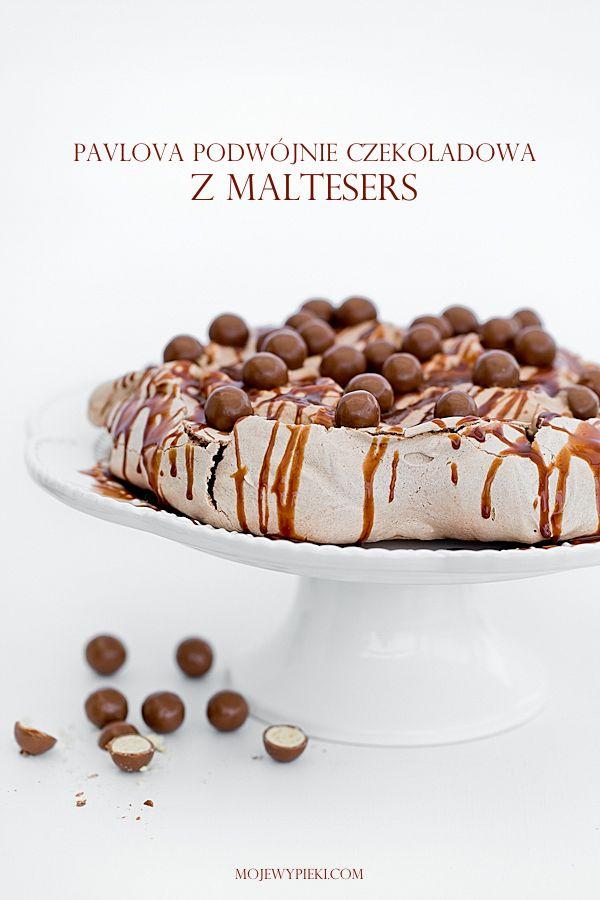 Pavlova podwójnie czekoladowa z nutellą i Malteserami